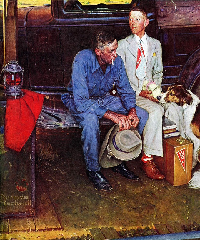 """Breaking Home Ties""- 1954 painting by Norman Rockwell"