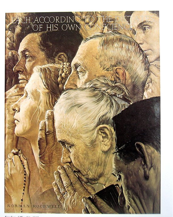 Rockwell Freedom of Worship- 1943 oil canvas painting