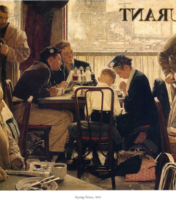 Saying Grace 1951  painting by Normal Rockwell