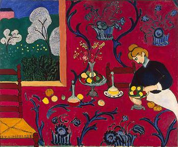 Henri Matisse painting The Dessert: Harmony in Red