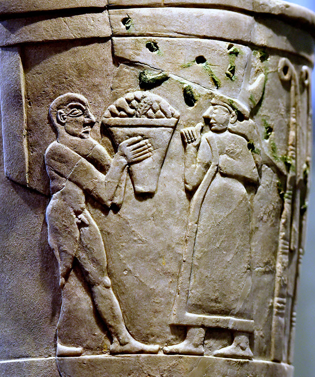 Inanna receiving offerings on the Uruk Vase, circa 3200-3000 BC