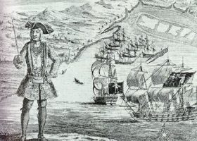 Bartholomew-Roberts captured with his and the merchant ship