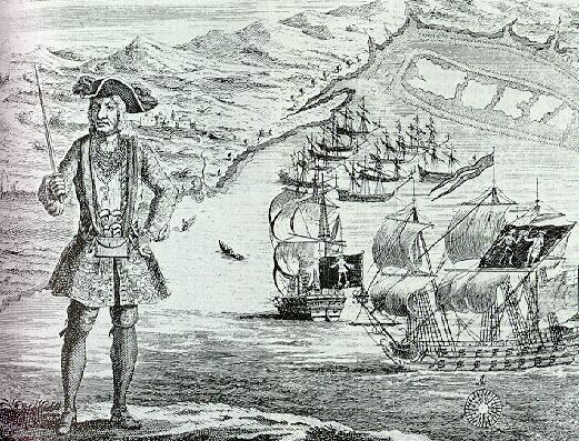 Bartholomew Roberts captured with his and the merchant ship