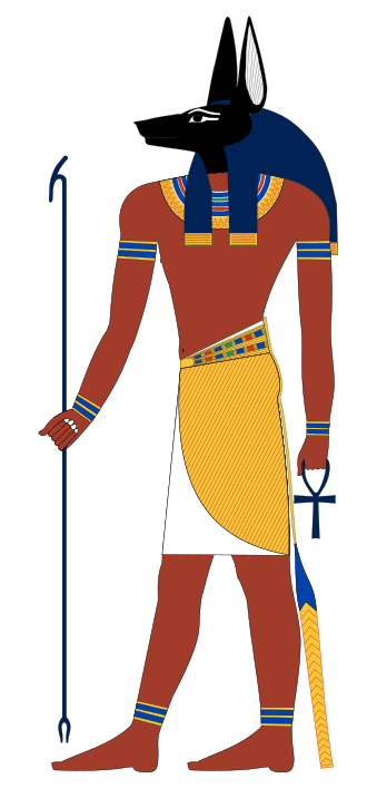 Anubis, the god of mummification,  the afterlife, cemeteries, and, the Underworld