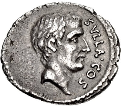 Portrait of Sulla on a grey coin with the head facing right