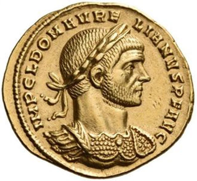 Portrait of Aureus of Aurelian on a golden coin