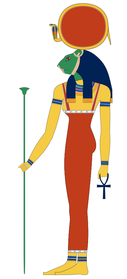 Sekhmet depicted with the head of a lioness and a sun disk