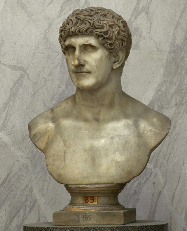 a portrait bust of Marcus Antonius on a fine-grained yellowish marble