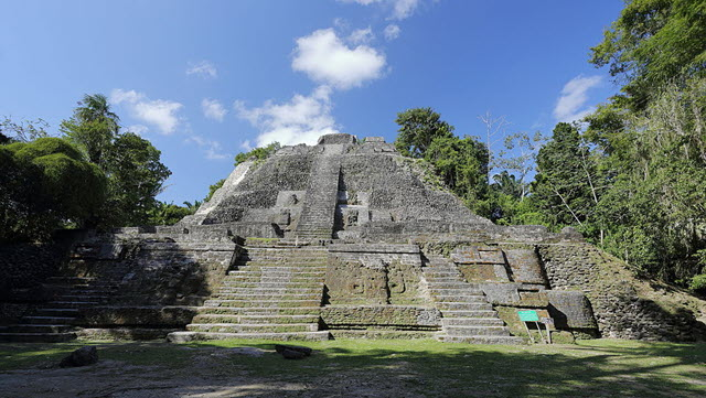 The high temple of Lamanai situated in the north of Belize