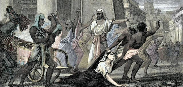 A scene indicating the death of philosopher Hypatia in Alexandria