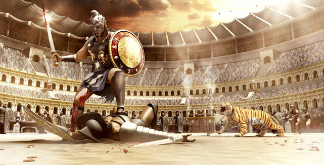 An image of gladiator champion with a chained tiger - Roman Era