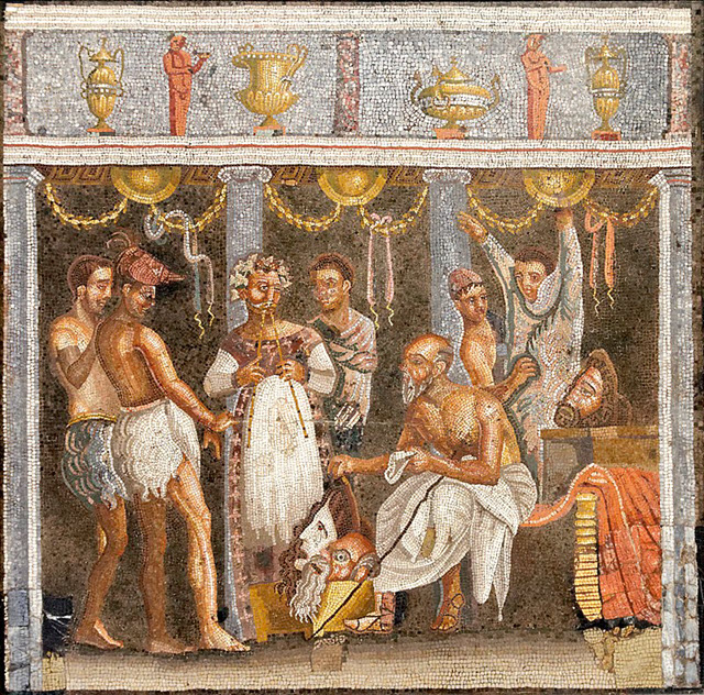 Depiction of Roman actors and a player