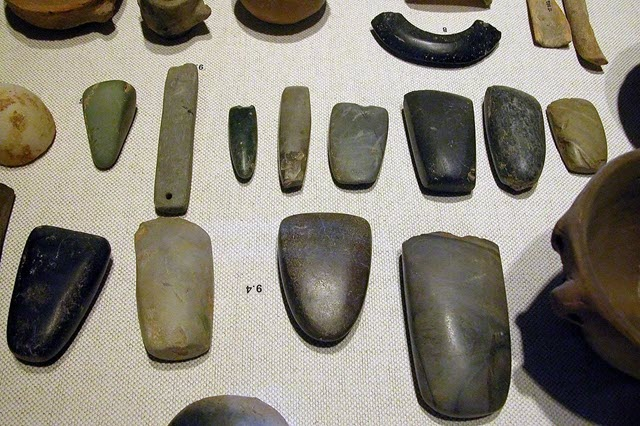 The artefacts of the Neolithic period including axe heads, bracelets, polishing tools