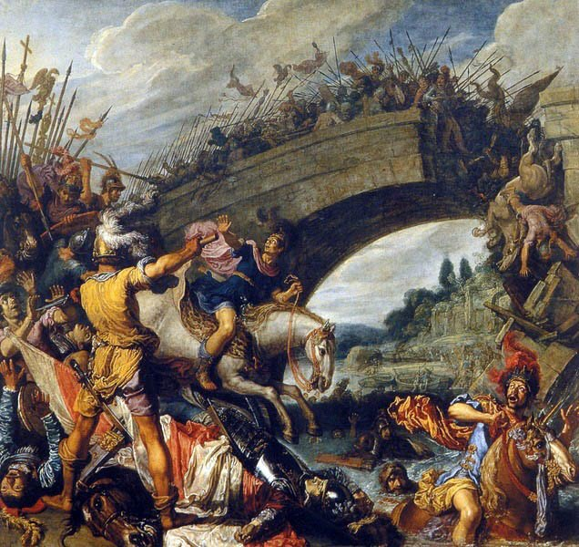 The battle of the Milvian Bridge in 312 AD