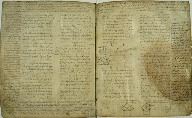 The existing text of Euclid's Elements, of the 9th Century manuscript
