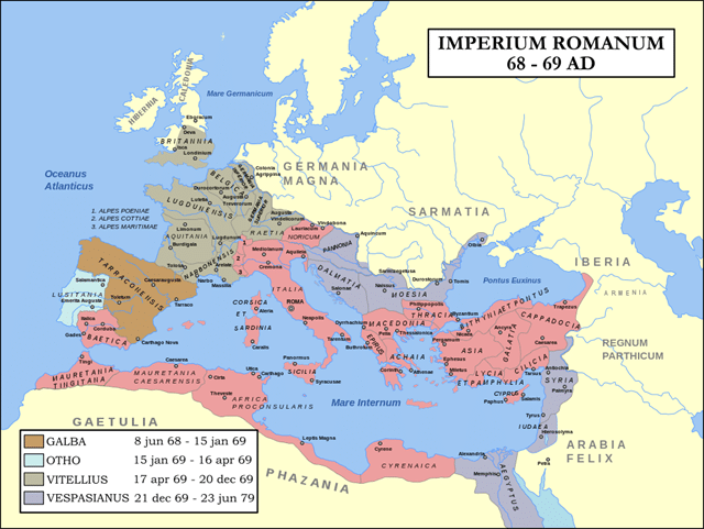 The year of four emperors - Galba, Otho, Vitellius, and Vespasianus