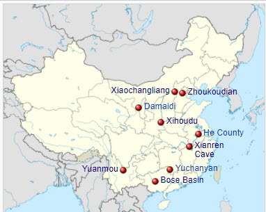 Map of China showing various sites including Xihoudu