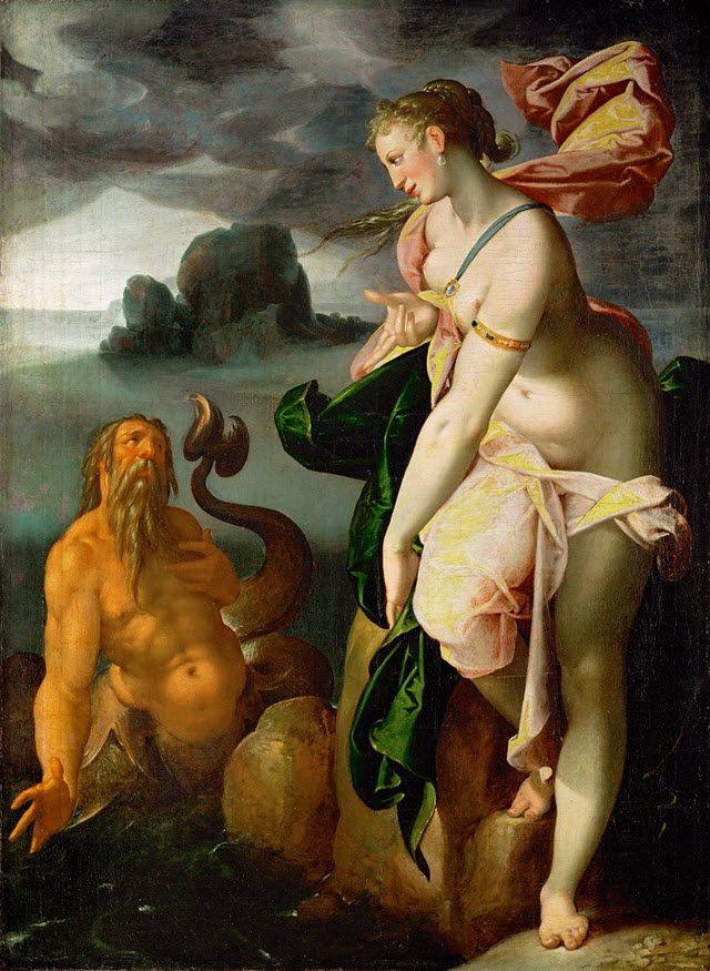 A portrait of Greek Water God Glaucus and Scylla