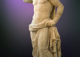 A statue of Poseidon placed at the National Archaeological museum