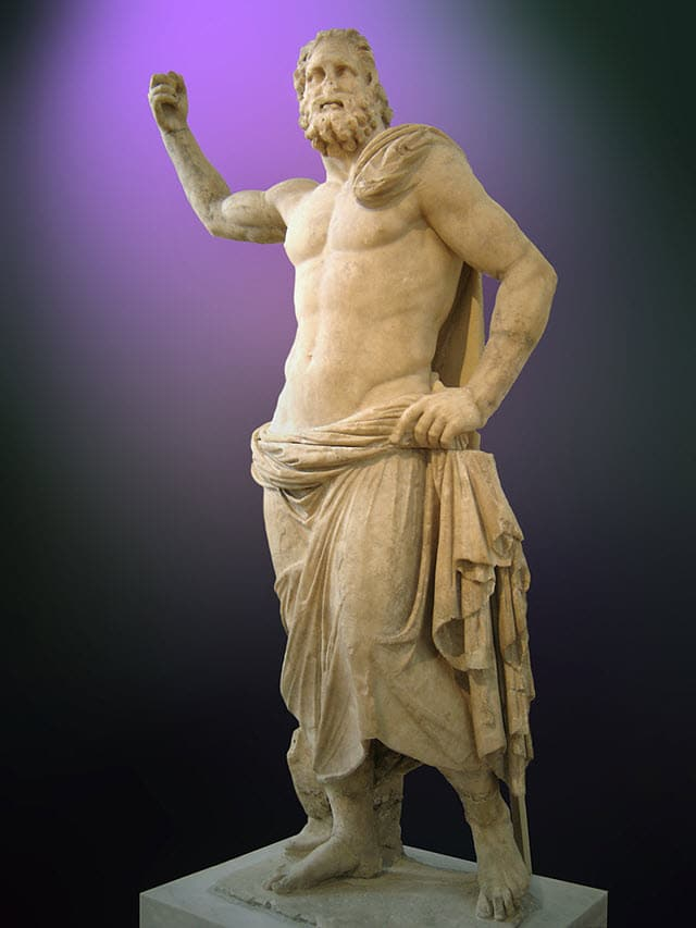 A statue of Poseidon placed at the National Archaeological Museum of Athens