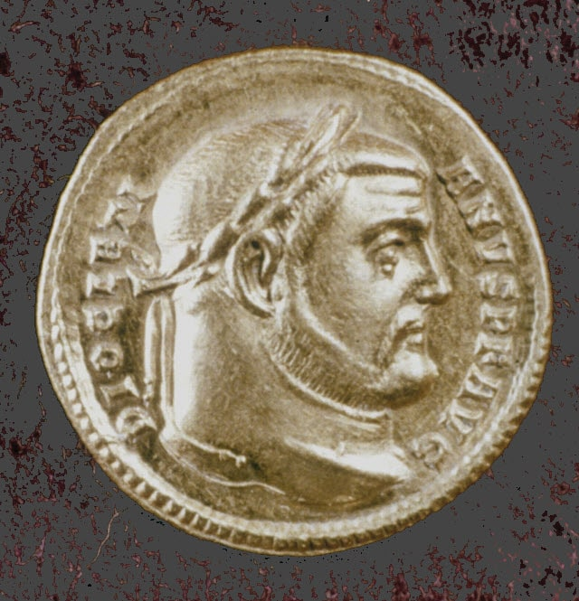 A coin with the image of Diocletian