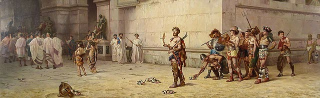 A portrait of Commodus leaving the Arena of Gladiator