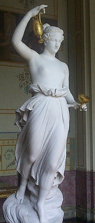 A statue of Hebe with her unique dress up