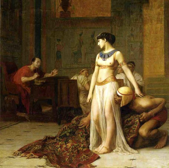 Cleopatra rolled out of a carpet