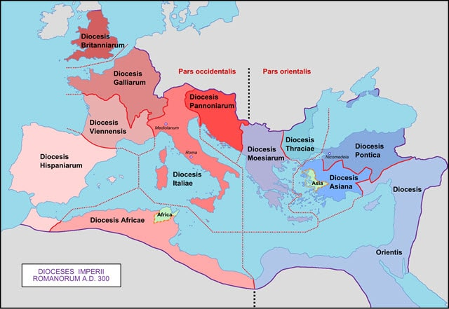 Map of the Roman diocese