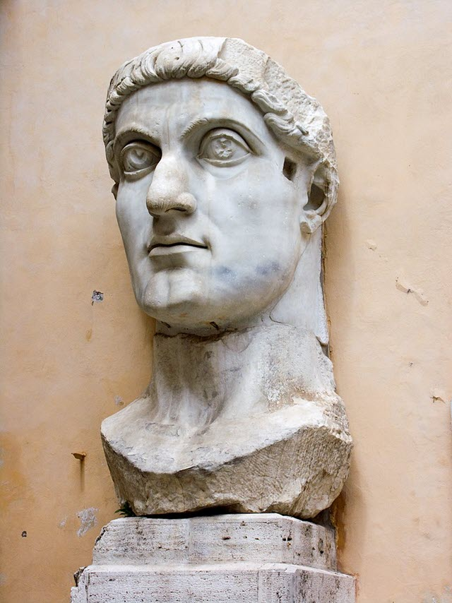 An old statue of the Roman Emperor Constantine the Great