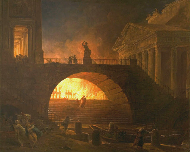 The Great Fire of Rome during Nero's reign