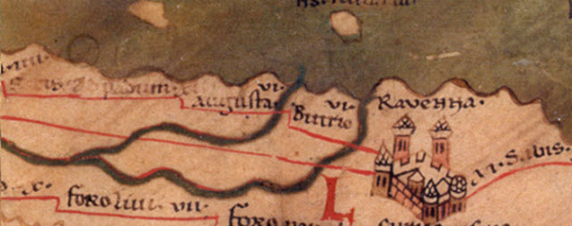 The Peutinger Map showing the city of Ravenna in the 4th Century BC