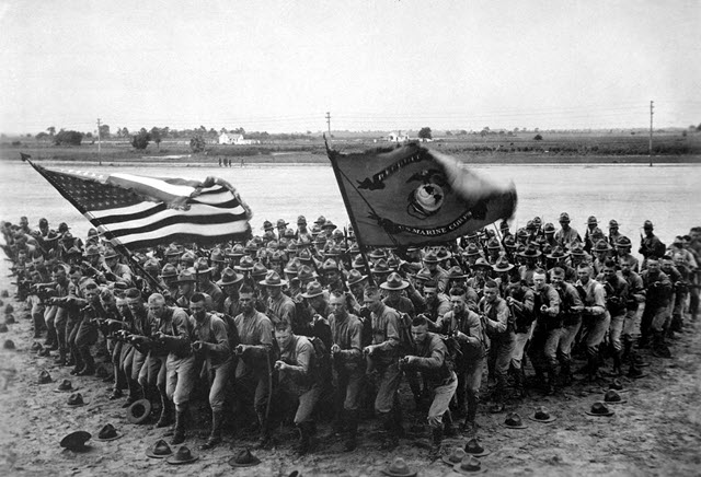 The Wedge formation posed by the U.S Marines