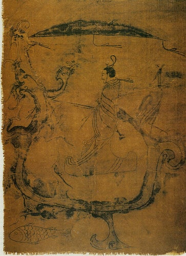 A painting from 5th - 3rd Century BC depicting horse riding during the Zhou dynasty