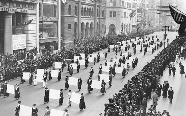 A photo of women rally during the protest for Women's Suffrage - 1917