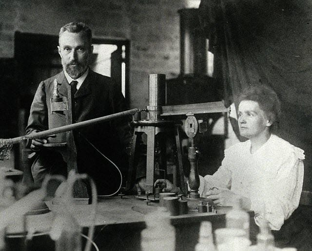 A picture of Marie Curie and her husband Pierre Curie click in 1904