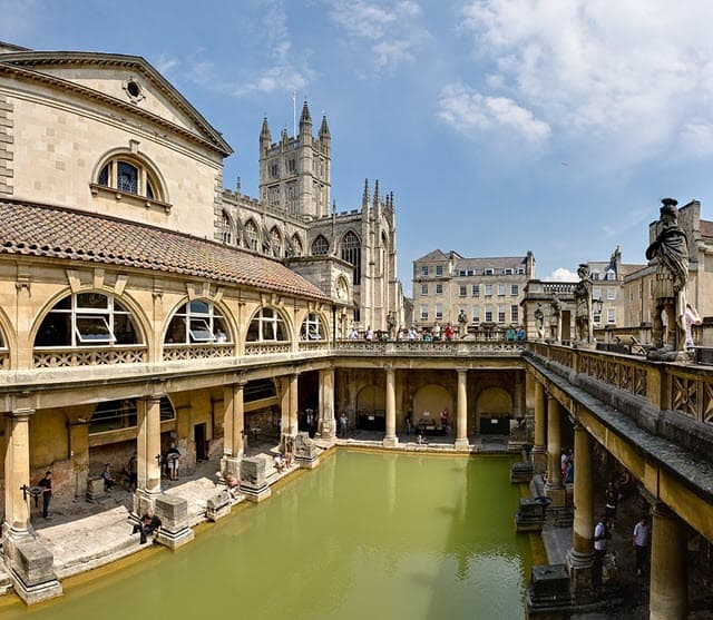 A recent picture of the Roman Baths located in Somerset, England