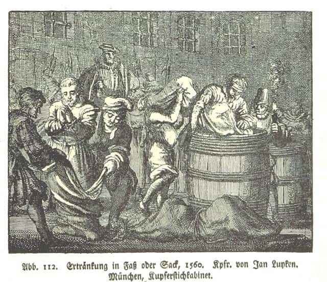 A scene depicting the execution method - Poena cullei