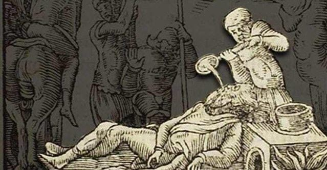 An image depicting Roman Execution method - Pouring molten gold down the throat