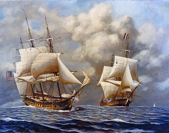 An image of ships during the Quasi-War
