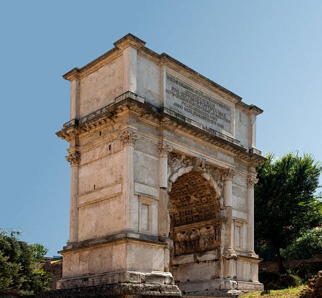 Arch of Titus located in Rome, Italy