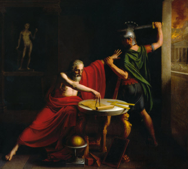 Depiction of the death of Archimedes