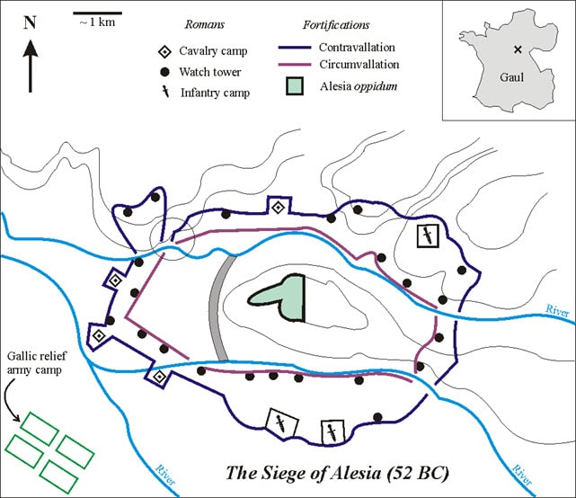 The Fortification in Alesia built by Julius Caesar