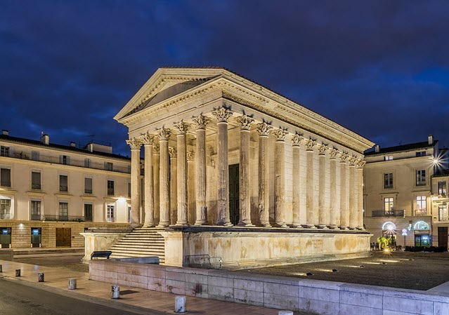 The Western side of Maison Carree, Nimes, France