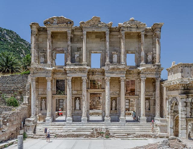 The front view of the Library of Celsus located in Turkey
