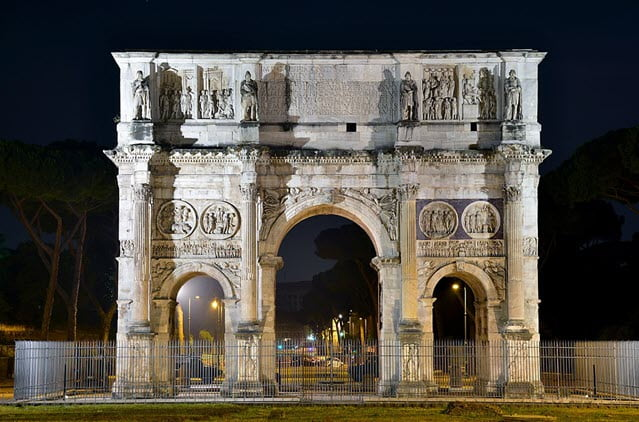 The night view of the Arch of Constantine, Rome, Italy