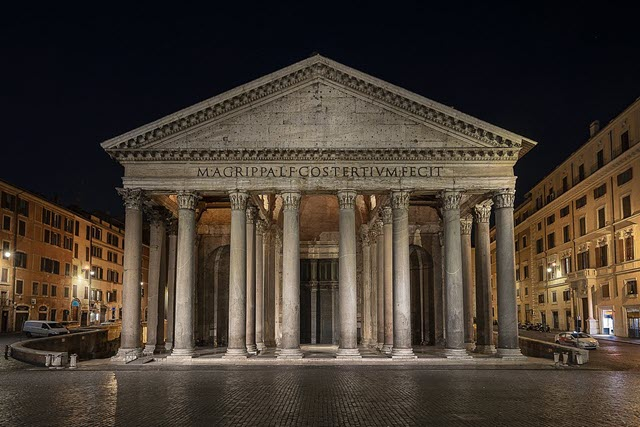 The night view photo of the Pantheon, Rome, Italy