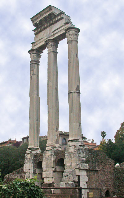 The remains of the temple of Castor and Pollux