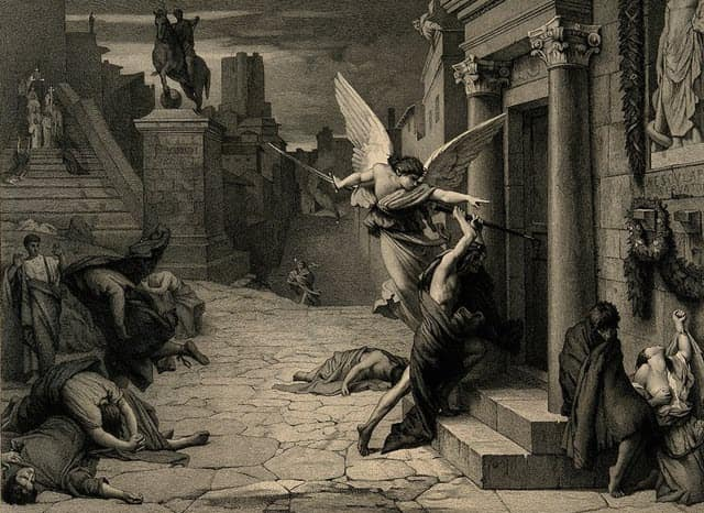 A chaotic scene caused due to the Antonine Plague