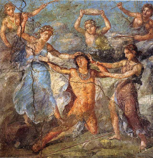 A close image of one of the paintings depicting the death of Pentheus